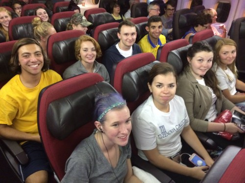 Students waiting for the plane to take off!