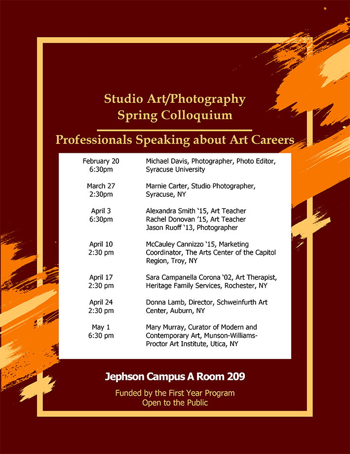 Guest Speakers for Studio Art/Photography First Year Spring Colloquium