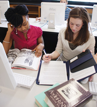Cazenovia College students studying together
