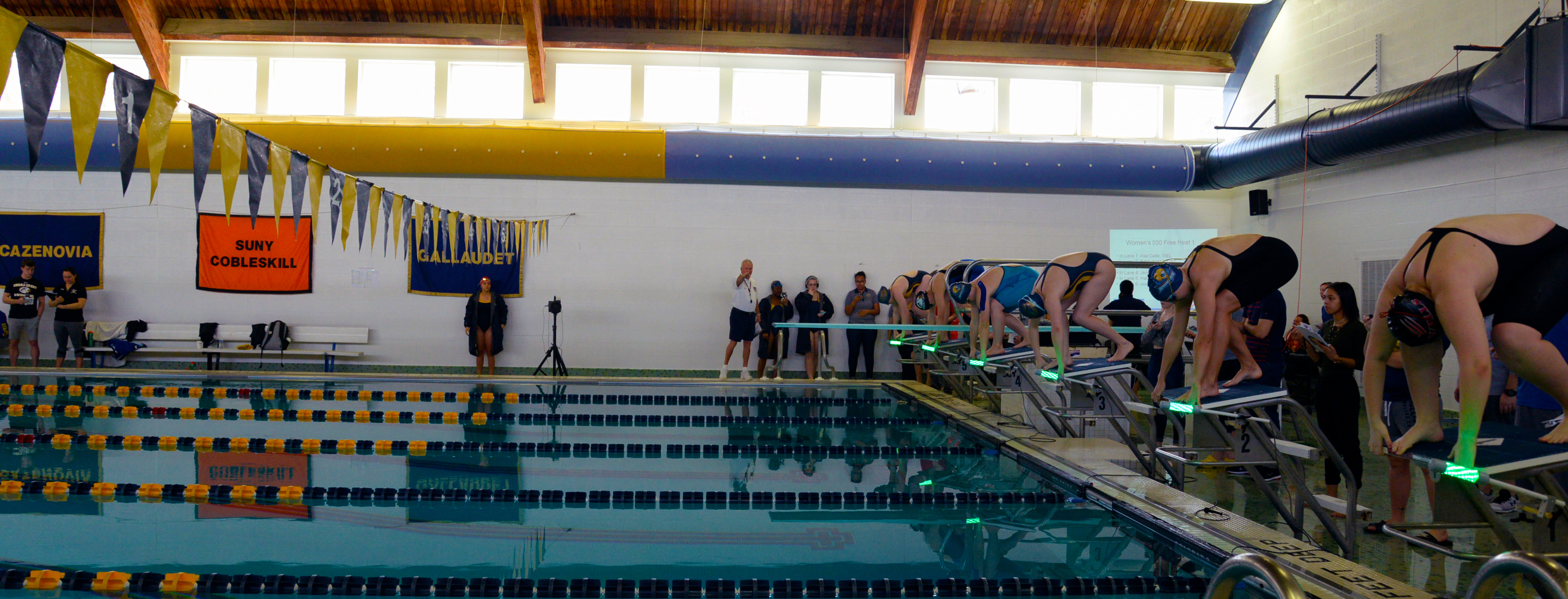 Reaction Light System used for the first time during NEAC Swimming and Diving Championships at Cazenovia College