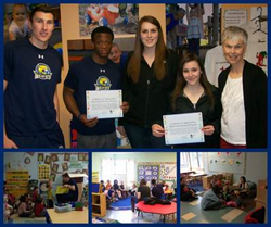 "Student-athletes read to children at the Cazenovia Children's House as part of ""March into Reading Program"""