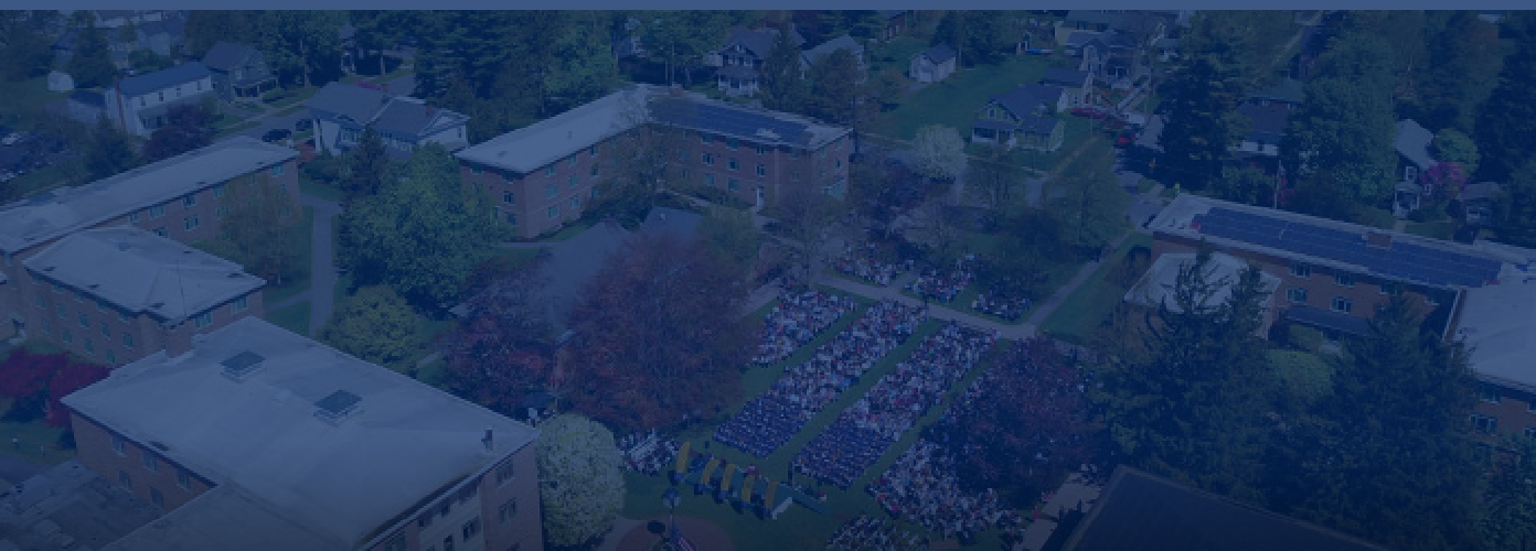 aerial shot of student assembly on campus